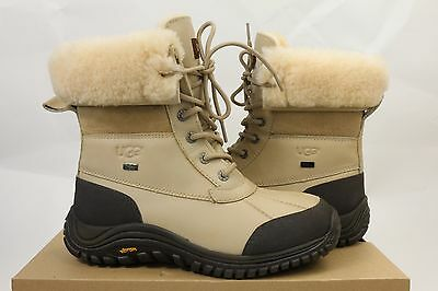 UGG ADIRONDACK Winter Snow Leather Fur Boots Women's Size 8 Sand Tan BEIGE Shoes