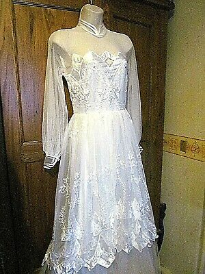 stunning vintage pronuptia  italian made long sleeve white wedding dress size 8