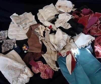 Large Lot Antique 1900's Women's Edwardian Lace COLLARS Trim Bows