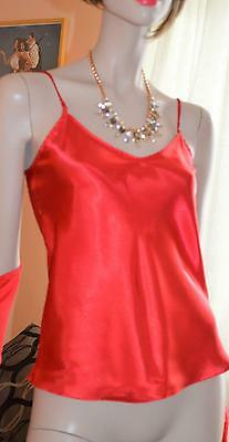Red Glossy silky wet look satin Camisole cami top uk 14-16