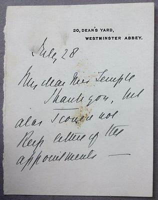 Basil Wiberforce, Archdeacon of Westminster, ALS, SIGNED letter