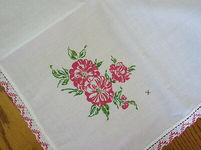 "Vintage Tablecloth/topper -  Hand Painted Flowers - Lace Edge - 34"" By 37"""