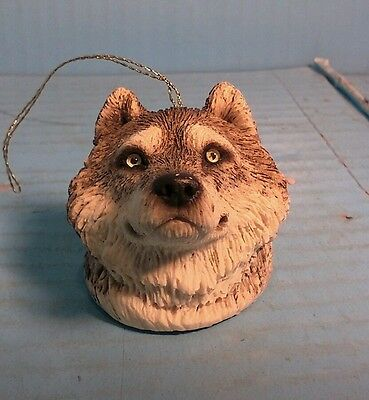 Sandicast Wolf Head Christmas Ornament 2""
