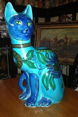 HOLLYWOOD REGENCY 1960's Blue Cat STATUE  ITALIAN ART POTTERY Mod