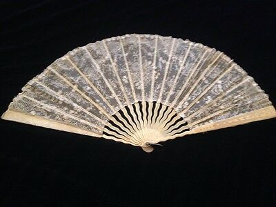 Antique Carved Bone And Lace Fan Giid Condition Free Postage