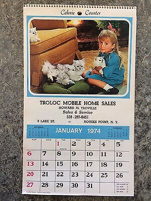 Vintage 1974 Calendar Troloc Mobile Homes Sales Rouses Point Ny  Unused !!!