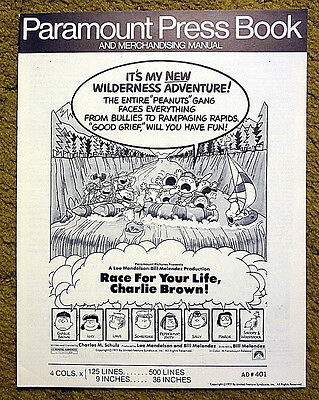 """""""RACE FOR YOUR LIFE CHARLIE BROWN"""" -1977 comic strip favorite / movie pressbook"""
