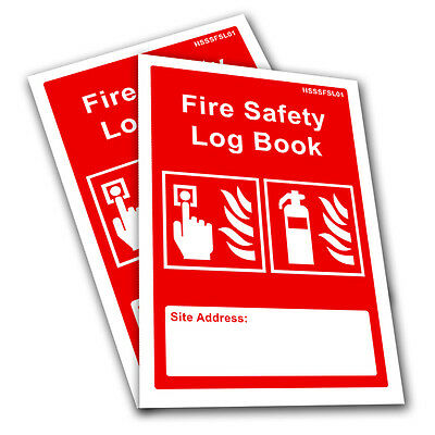 2 x Fire Log Book Record A5 Compliant Landlord Business Security Risk Assessment