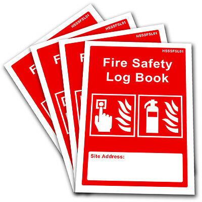 4 x Fire Safety Log Book Record - A5 Landlord Business Security Risk Assessment.