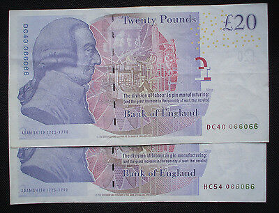 BANK OF ENGLAND £20 notes x 2 (same number)bailey