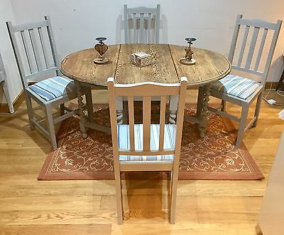 Oak Shabby Chic Gate Leg Table And 4 Chairs