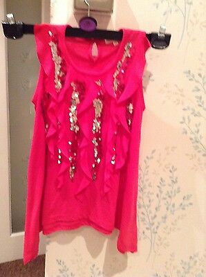blue zoo pink sequin top at 7/8