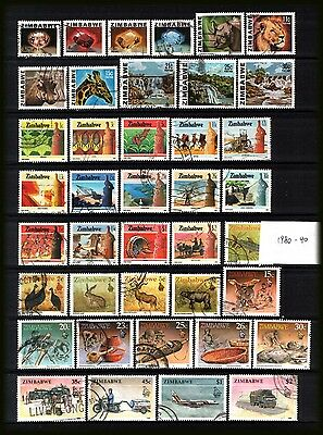 ZIMBABWE 1980-90 : Large all different used selection as per scan.