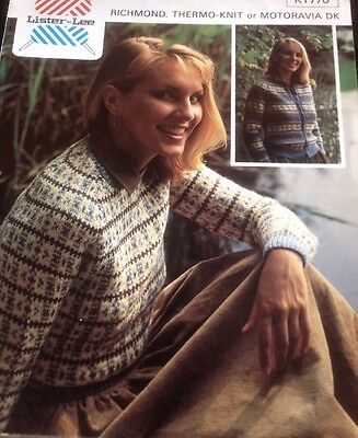 Ladies Vintage Knitting Pattern For Cardigan And Jumper With Fair Isle Pattern