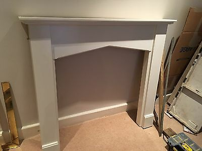 White Wooden Fireplace Mantelpiece and Marble Surround