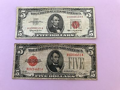 Lot of 2 Red Seal $5 US Notes. Series 1928 and 1963. Free Shipping.