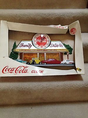 Coke Coca Cola 50's Family Drive In Diner Wall Clock Hot Rods In Box FREE SHIP