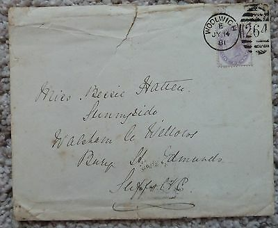 GB QV 1d Inland revenue stamp on cover 14 July 1881