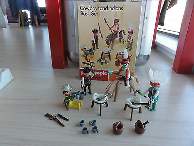 Vintage Playmobil Playpeople Cowboys & Indians Basic Set BOXED complete 1731 UK