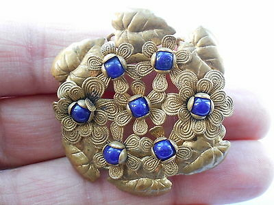 Good Looking Vintage Art Deco Gold Coloured Metal & Blue Glass Floral Brooch Pin