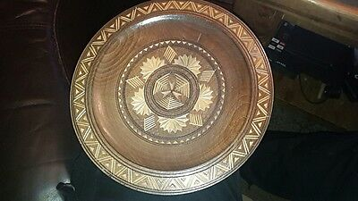Vintage Hand Carved Wall Hanging Wooden Plate treen