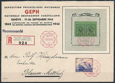 [G42442] Switzerland 1943 Good sheet on first day cover Very Fine