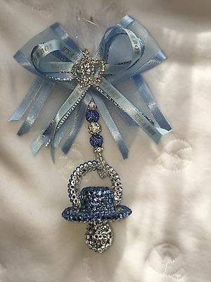 Romany bling crystal  dummy pram charm christening gift present IT'S A BOY