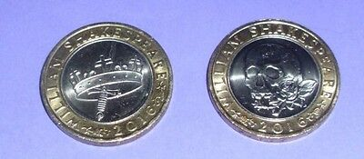 2016 WILLIAM SHAKESPEARE  £2 COINS  x2  -  Hollow Crown & MacBeth Skull & Roses