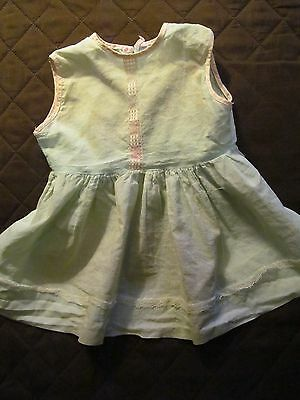 """Vintage Small Girl's /Doll  Dress - Light green cotton with lace.  15 1/2"""" long"""