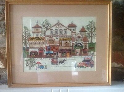 Vintage Cross stitch embroidered picture