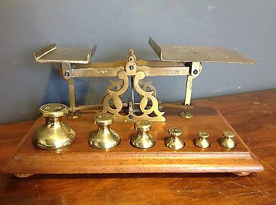 Antique Brass Postal Letter Scales With Weights