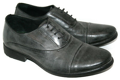 Mens BENETTON Grey Burnished Leather Derby Toe Cap Shoes Size: UK8 EU42 RRP: £90