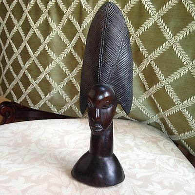 Vtg. African Woman Figure Rosewood Wood Carved Statue Hand-Made Excel. Condition