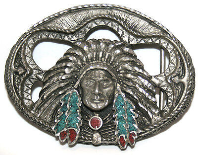 Native American Western Belt Buckle Made in USA EJC 95 Turquoise Coral Pewter