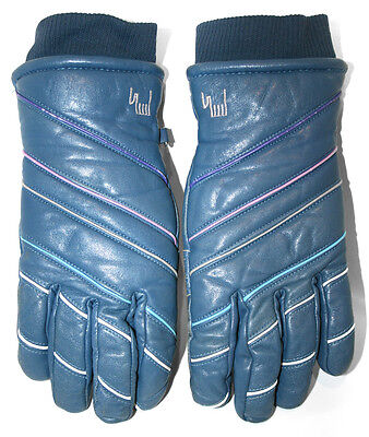 Mens ROECKL Retro Ski Snowboarding Gloves Blue Leather Padded Piping Size 7.5