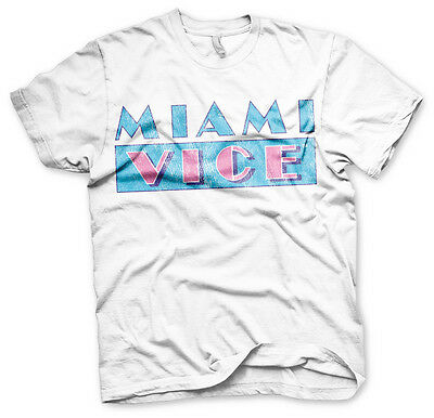 Miami Vice Distressed Logo 80s Tv Serie T-Shirt Männer Men Weiss White