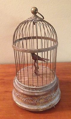 Antique Mechanical Singing Moving Bird in Brass Cage Made in France WORKS GREAT