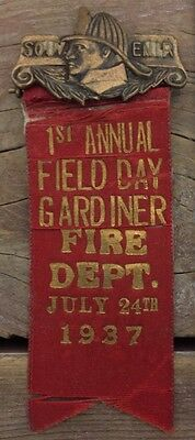 Antique 1937 1st Annual Field Day Gardener Fire Dept July 24th 1937 Pin Maine