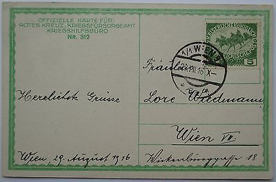 Austria. Fine official red cross postcard sent within Vienna. 1916.