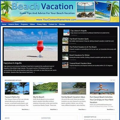 Established BEACH VACATION Turnkey MOBILE FRIENDLY Website For Sale