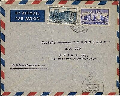 Syria 1953  Airmail Cover To Czechoslovakia