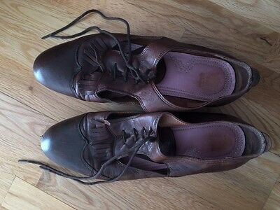 H by Hudson women's brown leather brogues size 40