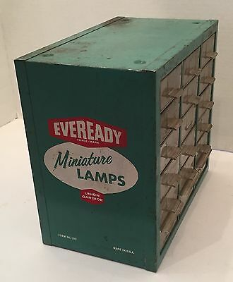 Vintage Eveready Miniature Lamps Cabinet Display Case Advertising
