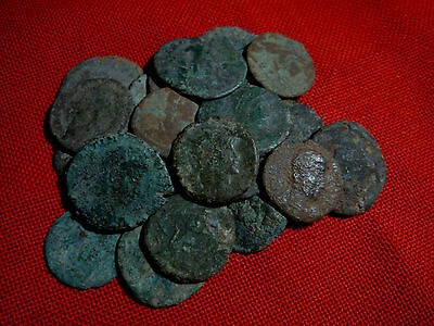 Lot of 25 uncleaned late Roman bronze coins
