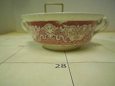 Watteau Red Wood Burslem England Transferware Double Handle Bowl