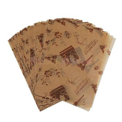 50 x Eiffel Tower Print Waterproof Dry Wax Paper Food Candy Wrapping Tissue