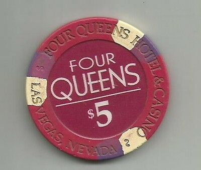 $5.00 Casino Poker Chip From The Four Queens Hotel & Casino Down town Las Vegas