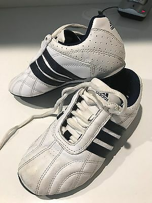 Boys White Leather Adidas Sneakers - Size US 13
