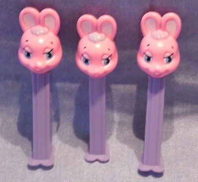 Lot of 3 Pez Dispenser Pink Easter Bunny Rabbit  916-122A