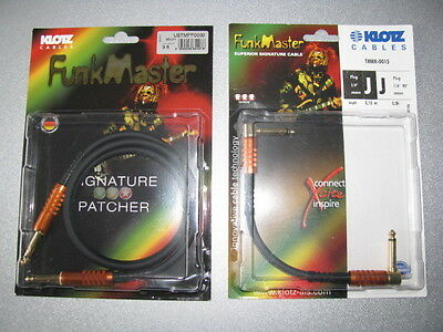 2 new Klotz Funkmaster cables: one TMRR-0015 and one USTMPP0030  bass or guitar